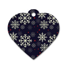 Snowflake Dog Tag Heart (one Side) by Kathrinlegg