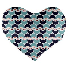 Moon Pattern Large 19  Premium Heart Shape Cushions by Kathrinlegg