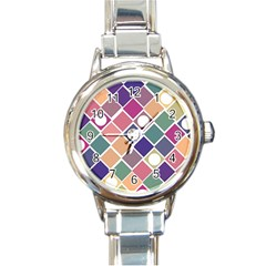 Dots And Squares Round Italian Charm Watches by Kathrinlegg