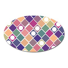 Dots And Squares Oval Magnet by Kathrinlegg
