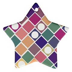 Dots And Squares Star Ornament (two Sides)  by Kathrinlegg