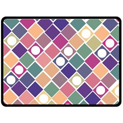 Dots And Squares Fleece Blanket (large)  by Kathrinlegg