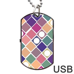 Dots And Squares Dog Tag Usb Flash (two Sides)  by Kathrinlegg