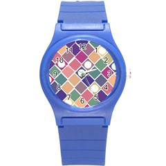 Dots And Squares Round Plastic Sport Watch (s) by Kathrinlegg