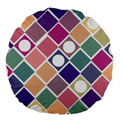 Dots And Squares Large 18  Premium Round Cushions by Kathrinlegg
