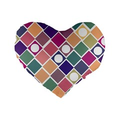 Dots And Squares Standard 16  Premium Heart Shape Cushions by Kathrinlegg