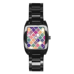 Dots And Squares Stainless Steel Barrel Watch by Kathrinlegg