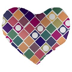 Dots And Squares Large 19  Premium Flano Heart Shape Cushions by Kathrinlegg