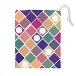 Dots and Squares Drawstring Pouches (Extra Large) Front