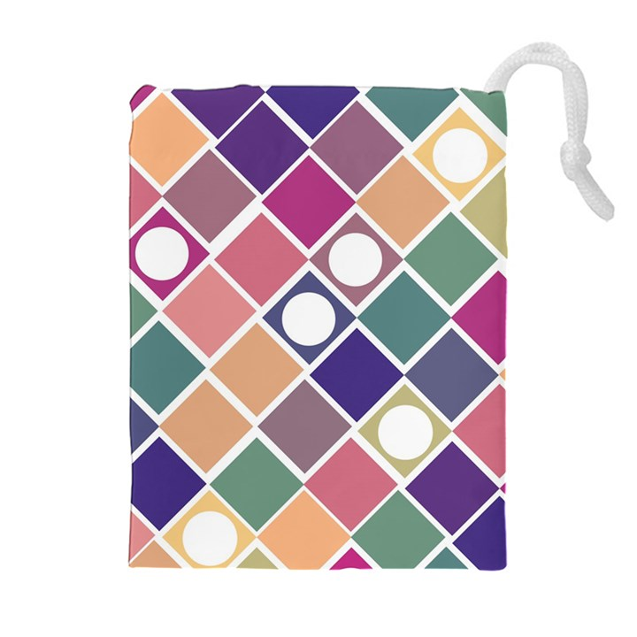 Dots and Squares Drawstring Pouches (Extra Large)