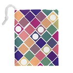 Dots and Squares Drawstring Pouches (Extra Large) Back
