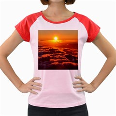 Sunset Over Clouds Women s Cap Sleeve T Shirt by trendistuff