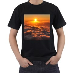 Sunset Over Clouds Men s T Shirt (black) (two Sided) by trendistuff