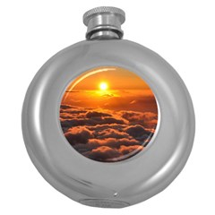 Sunset Over Clouds Round Hip Flask (5 Oz) by trendistuff