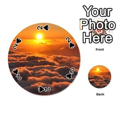 Sunset Over Clouds Playing Cards 54 (round)  by trendistuff