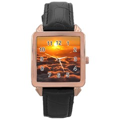 Sunset Over Clouds Rose Gold Watches by trendistuff