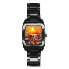 Sunset Over Clouds Stainless Steel Barrel Watch by trendistuff