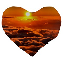 Sunset Over Clouds Large 19  Premium Flano Heart Shape Cushions by trendistuff