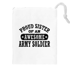 Proud Army Soldier Sister Drawstring Pouch (xxl) by teambridelasvegas