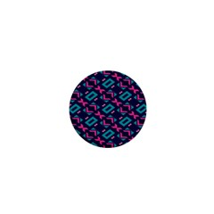 Pink And Blue Shapes Pattern 1  Mini Button by LalyLauraFLM