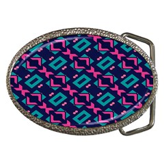 Pink And Blue Shapes Pattern Belt Buckle by LalyLauraFLM