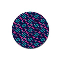 Pink And Blue Shapes Pattern Magnet 3  (round) by LalyLauraFLM