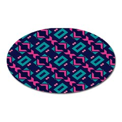 Pink And Blue Shapes Pattern Magnet (oval) by LalyLauraFLM