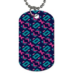 Pink And Blue Shapes Pattern Dog Tag (one Side) by LalyLauraFLM