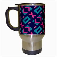 Pink And Blue Shapes Pattern Travel Mug (white) by LalyLauraFLM