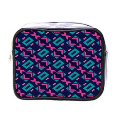Pink And Blue Shapes Pattern Mini Toiletries Bag (one Side) by LalyLauraFLM