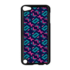 Pink And Blue Shapes Pattern Apple Ipod Touch 5 Case (black) by LalyLauraFLM