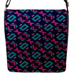 Pink And Blue Shapes Pattern Flap Closure Messenger Bag (s) by LalyLauraFLM