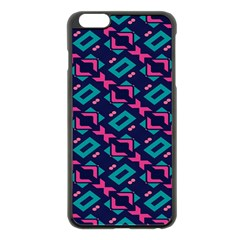 Pink And Blue Shapes Pattern Apple Iphone 6 Plus Black Enamel Case by LalyLauraFLM