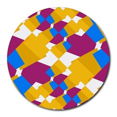 Layered Shapes Round Mousepad by LalyLauraFLM