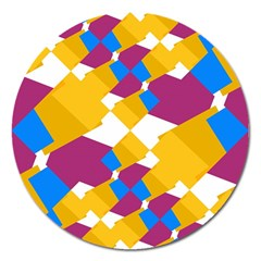 Layered Shapes Magnet 5  (round) by LalyLauraFLM