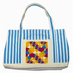 Layered Shapes Striped Blue Tote Bag by LalyLauraFLM