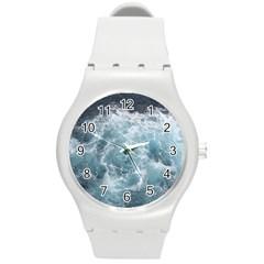 Ocean Waves Round Plastic Sport Watch (m) by trendistuff