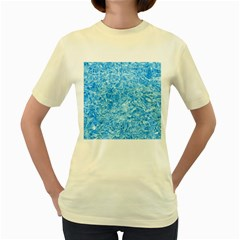 Blue Ice Crystals Women s Yellow T Shirt by trendistuff