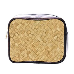 Tan Diamond Brick Mini Toiletries Bags by trendistuff