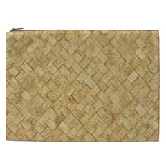 Tan Diamond Brick Cosmetic Bag (xxl)  by trendistuff