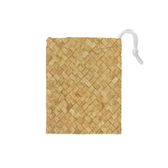 Tan Diamond Brick Drawstring Pouches (small)  by trendistuff