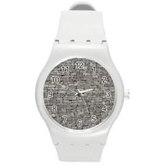 Stone Wall Grey Round Plastic Sport Watch (m) by trendistuff