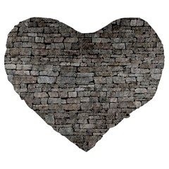 Stone Wall Grey Large 19  Premium Flano Heart Shape Cushions by trendistuff