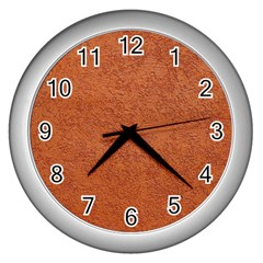 Rust Colored Stucco Wall Clocks (silver)  by trendistuff