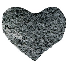 Rough Grey Stone Large 19  Premium Flano Heart Shape Cushions by trendistuff