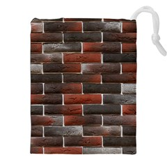 Red And Black Brick Wall Drawstring Pouches (xxl)