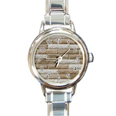 Light Brick Wall Round Italian Charm Watches by trendistuff