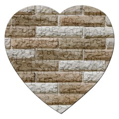 Light Brick Wall Jigsaw Puzzle (heart) by trendistuff