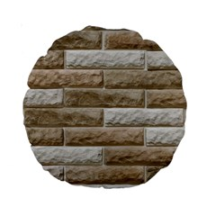 Light Brick Wall Standard 15  Premium Round Cushions by trendistuff