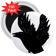 Crow 3  Magnets (100 Pack) by JDDesigns
